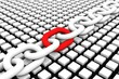 BLOCK CHAIN with red link on box background 3D illustration - 128328705