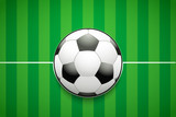 Poster Template with Football Ball on grass field. Cup and Tournament Advertising. Sport Event Announcement. Vector Illustration.