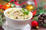 Russian traditional salad Olivier for New Year party