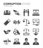 Corruption and bribery icons set