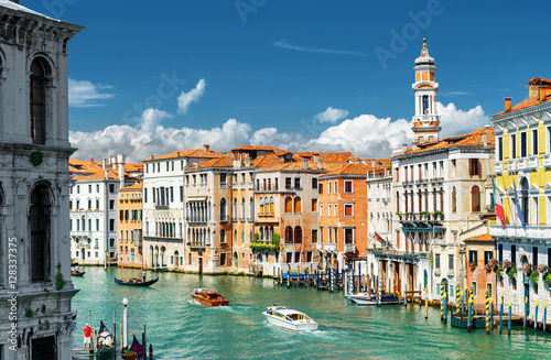 The Grand Canal and colorful facades of old houses, Venice Poster