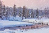 Winter snowy sundown landscape with forest and river