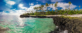 Tropical volcanic beach on Samoa Island with many palm trees