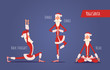 Santa Claus Doing Yoga Set. Vector Xmas Illustration. 3 Poses.