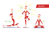 Santa Claus Doing Yoga Set. Vector Xmas Illustration. 3 Poses.
