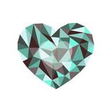 green-burgundy polygonal heart. a symbol of Valentines Day - St