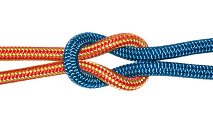 reef knot, yellow and blue ropes.