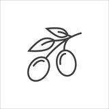 Olive line icon, outline vector sign, linear pictogram isolated on white. logo illustration