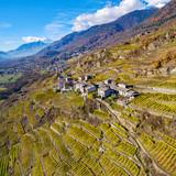 Valtellina (IT) - Tipici vigneti in zona Sassella a Sondrio - Vista aerea autunnale verso ovest