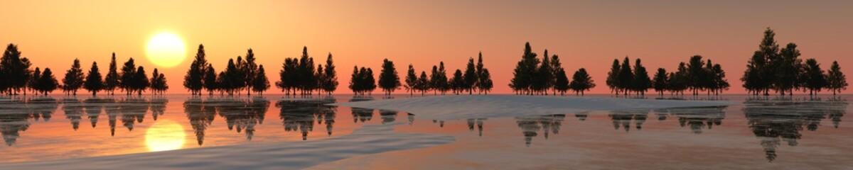 Fototapeta zimowa panorama o zachodzie słońca panorama