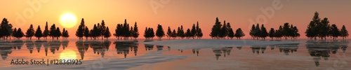 Foto op Canvas Cappuccino Panorama of the winter landscape. Sunset over ice and snow. 3d rendering.