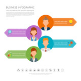 Infographic people in job character with business icon. Flat vec