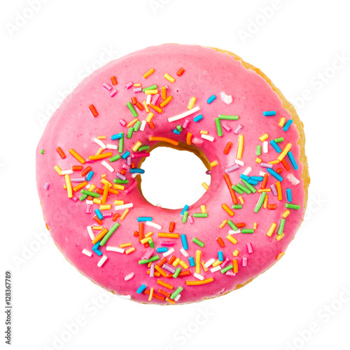 Donut with colorful sprinkles. Top view. Poster