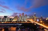 High angle view of Beijing CBD Skyline at night