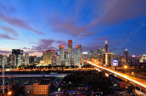 Papiers peints Pekin High angle view of Beijing CBD Skyline at night