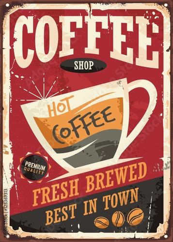 retro-zinnzeichendesign-der-kaffeestube-mit-kaffeetasse-auf-rotem-hintergrund