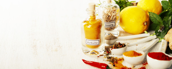 Herbs and spices selection, close up