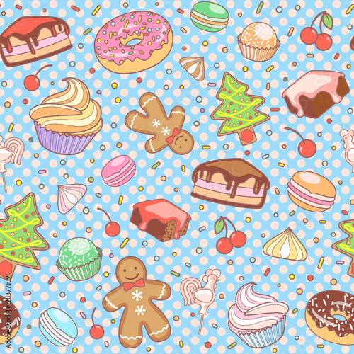 Cotton fabric Dessert seamless vector pattern.