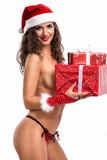 nude Christmas woman with gift box