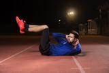 Core abs exercise abs athlete. Night dark.