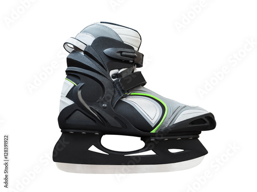 Side view of black ice skates isolated on white background Poster