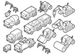 illustration of info graphic construction cars icons set concept in isometric 3d graphic