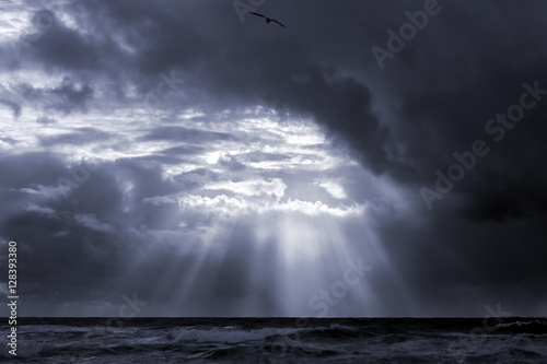 Seascape with sunbeams
