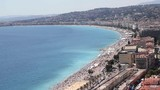 Top view of houses, boulevard and beach in Nice, France, on a summers day.