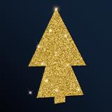 Golden glitter delightful christmas tree. Luxurious christmas design element, vector illustration.