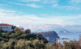 Landscape of Posillipo, Naples gulf, with Nisida island, and Capo Miseno, Naples, Italy