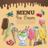 Fototapety Ice cream menu color sketch on wafer background