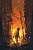 zombie looking back with burning city background,illustration painting