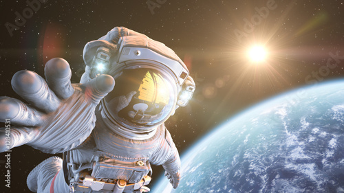 Astronaut in outer space, 3d render