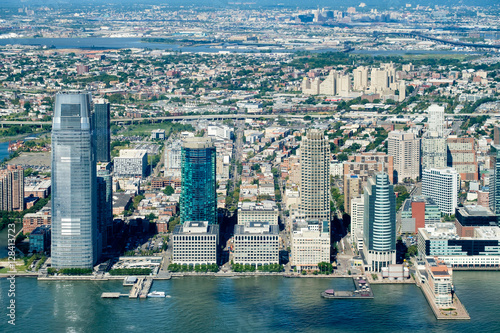 Juliste Aerial view of Jersey City in New Jersey on a beautiful day