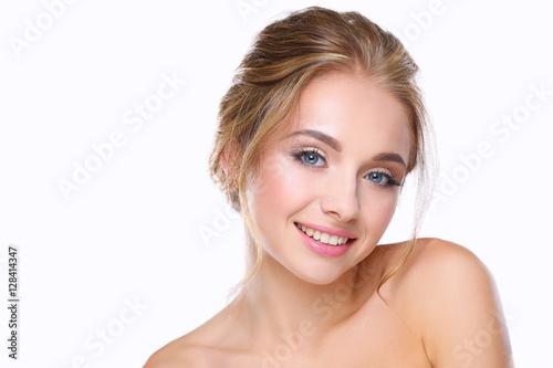 Poszter Portrait of beautiful woman on white background