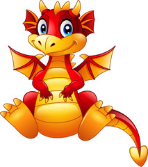 Cartoon red dragon sitting isolated on white background