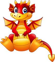 Cartoon red dragon sitting isolated on white background © ekyaky
