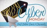 Electronic Tag with a Pointer Celebrating Cyber Monday, Vector Illustration