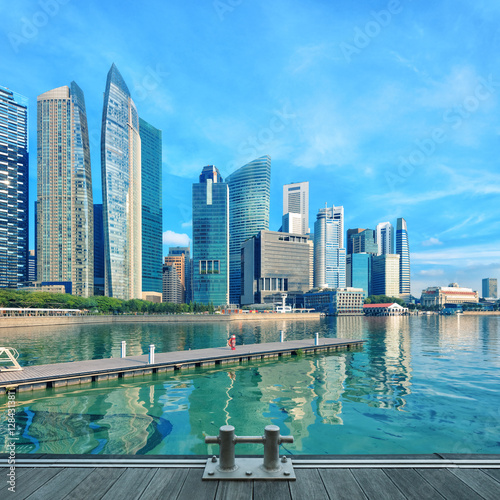 Singapore central quay with water on foreground Poster