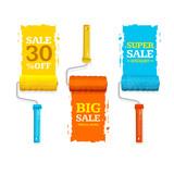 Sale Labels Roller Brush Set. Vector