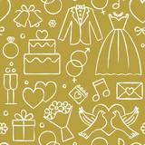 Wedding hand drawn seamless pattern background 4 - 128435347