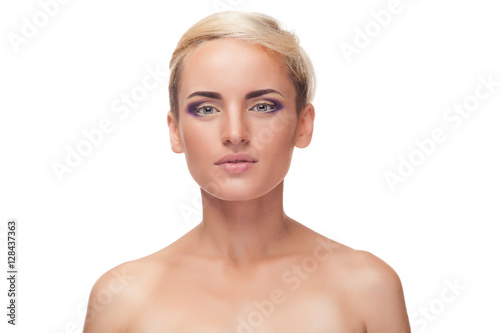 Poster Young woman with purple make up on white background