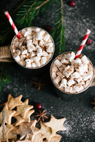 Poster Hot cacao with marshmallows in metal cups, star shaped cookies and red berries o