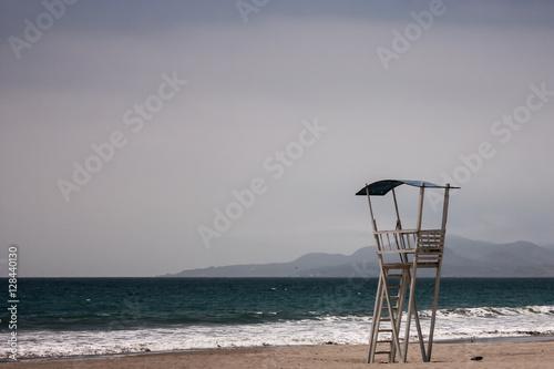 wooden lifeguard tower, Beach in La Serena, Chile - 128440130