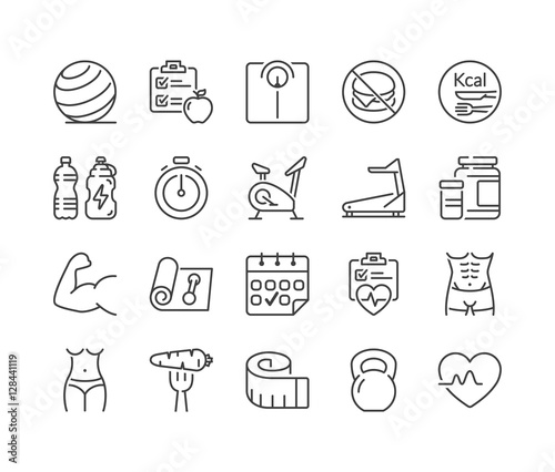 fitness and health thin line icons