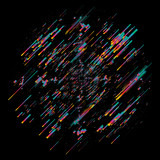 Abstract moving lines, future concept vector shape. Isolated on black background. - 128443138