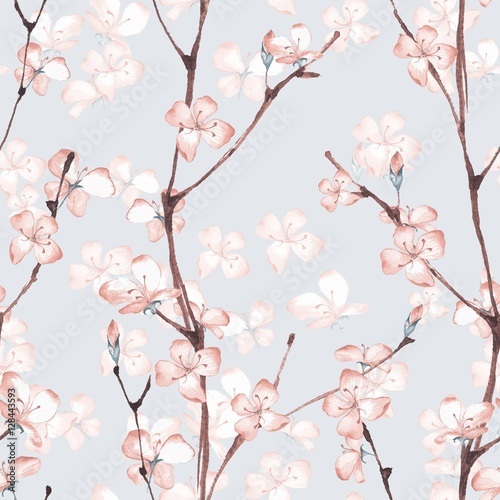 Cotton fabric Blossom. Watercolor seamless floral pattern. Hand drawn background 7