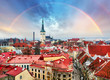 Tallin Aerial View of Old Town from Toompea Hill with rainbow, E