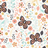 Seamless pattern with flowers, floral elements and butterflies, nature life