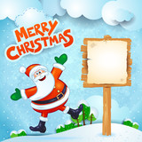 Christmas background with Santa, wooden sign and text